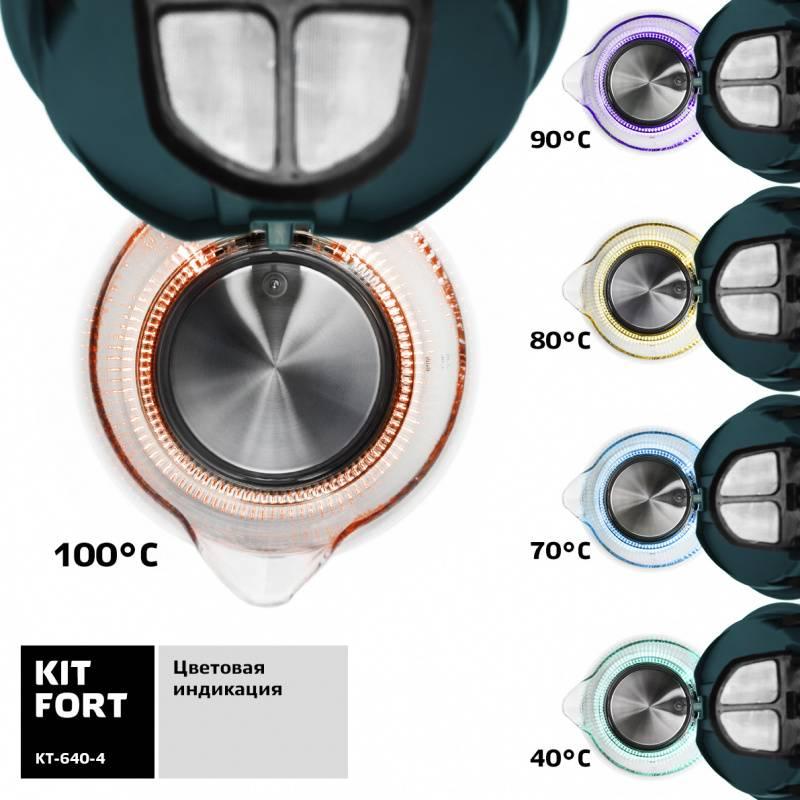 Чайник электрический Kitfort КТ-640-4 изумрудный - фото 5