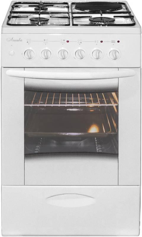 Плита комбинированная Лысьва ЭГ 1/3г14 МС-2у белый, стеклянная крышка - фото 1