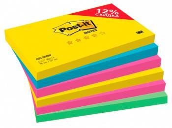 Блок самоклеящийся 3M Post-it Радуга Плюс 655-RNBW 7100142131 4цв.в упаковке 600 листов (упак.:6шт)