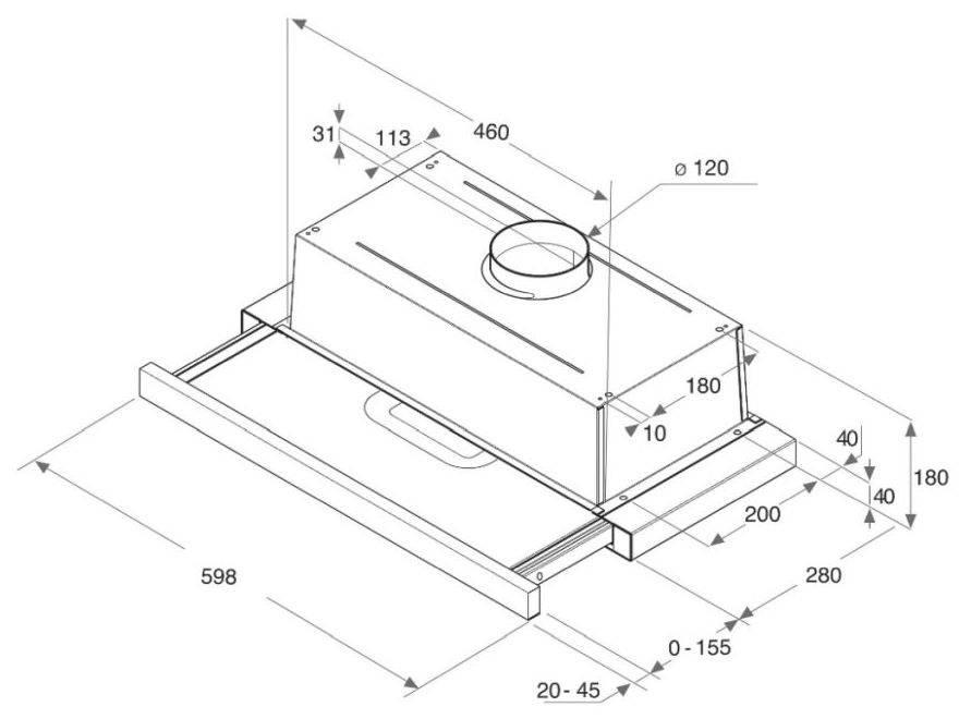 Встраиваемая вытяжка Hotpoint-Ariston HAH 65 F LB X нержавеющая сталь (155245) - фото 2