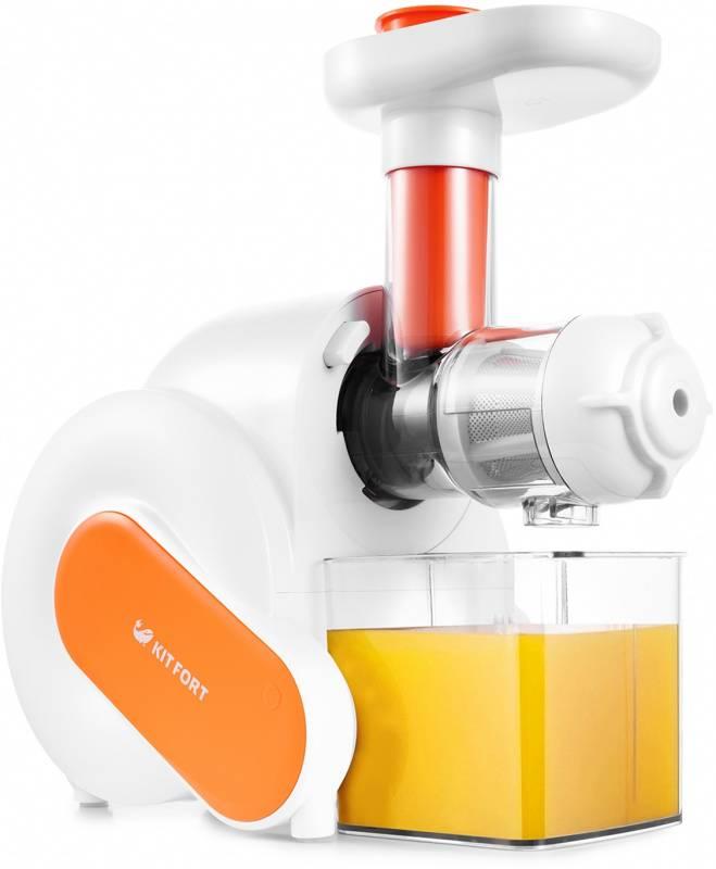 Соковыжималка шнековая Kitfort KT-1110-2 белый/оранжевый - фото 1