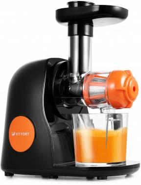Соковыжималка шнековая Kitfort КТ-1111-2 черный/оранжевый