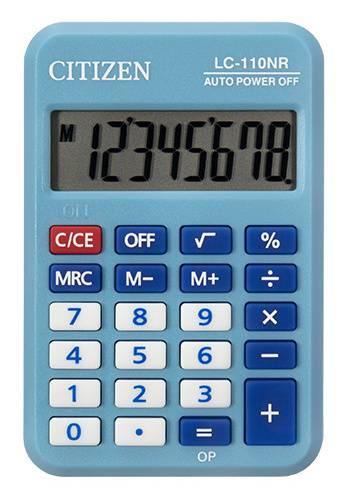 Калькулятор карманный Citizen Cool4School LC-110NRBL голубой - фото 1