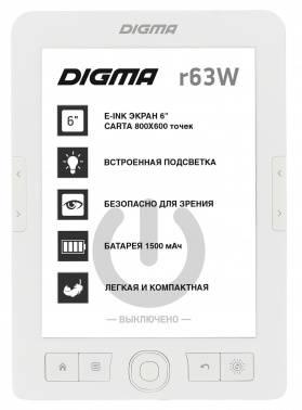 "Электронная книга 6"" Digma R63W белый"