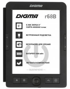 "Электронная книга 6"" Digma R68B Cover черный"