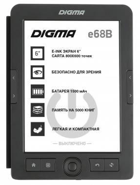 "Электронная книга 6"" Digma E68B Cover черный"