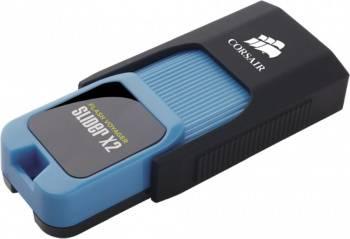Флешка Corsair Voyager Slider X2 64ГБ USB3.0 черный/голубой (CMFSL3X2A-64GB)