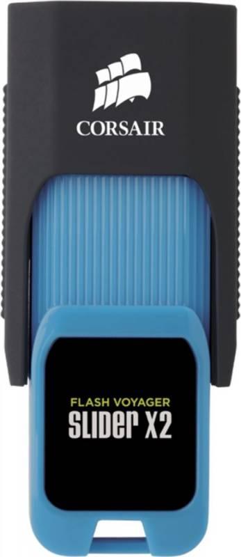 Флешка Corsair Voyager Slider X2 256ГБ USB3.0 черный/голубой (CMFSL3X2A-256GB) - фото 3