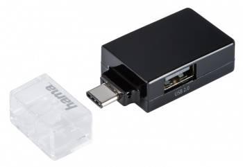 Разветвитель USB-C Hama Pocket черный (00135752)