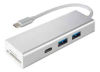 Разветвитель USB-C Hama Aluminium серебристый (00135759)
