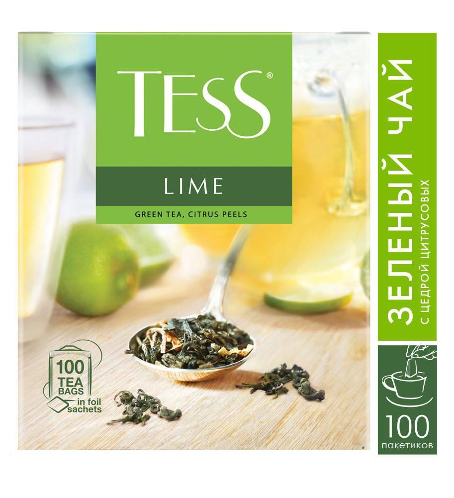 Чай Tess Lime зеленый цедра цитрусовых 100пак. карт/уп. (0920-09) - фото 1