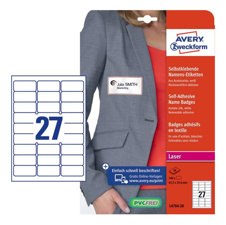 Этикетки Avery Zweckform L4784-20 120г/м2 20л. белый - фото 1