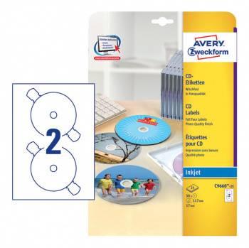 Этикетки Avery Zweckform CD/DV C9660-25 A4 196г/м2 25л.