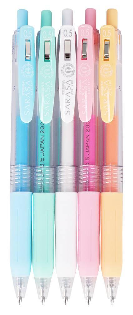 Набор гелевых ручек Zebra Sarasa Clip Milk ассорти (белый/голубой/мятный/розовый/св.оранж) (JJE15-5C-MK) - фото 1