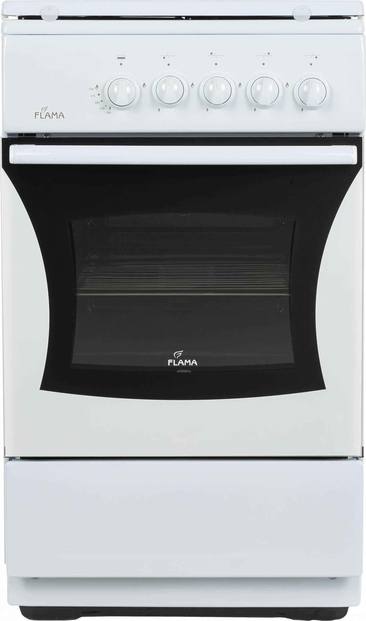Плита газовая Flama FG 24023 W белый, металлическая крышка - фото 1