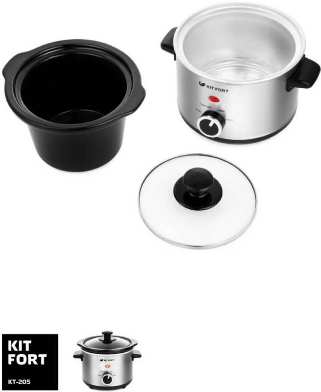 Медленноварка Kitfort КТ-205 серебристый/черный - фото 3