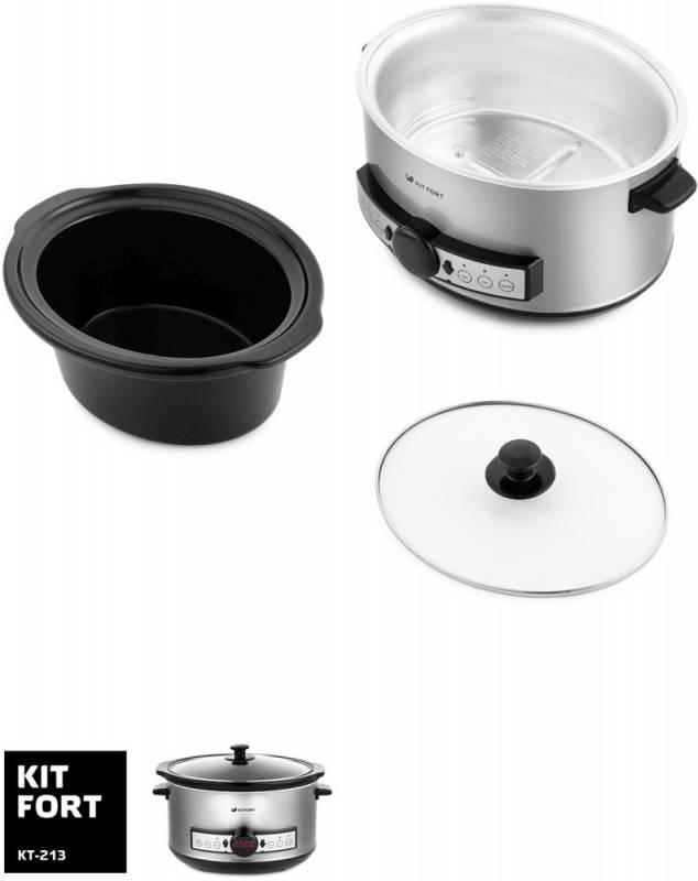 Медленноварка Kitfort КТ-213 серебристый/черный - фото 3