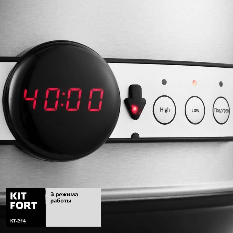 Медленноварка Kitfort КТ-214 серебристый/черный - фото 7