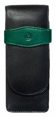 Футляр Pelikan TG32 (PL924092) для 3х ручек черный/зеленый натур.кожа