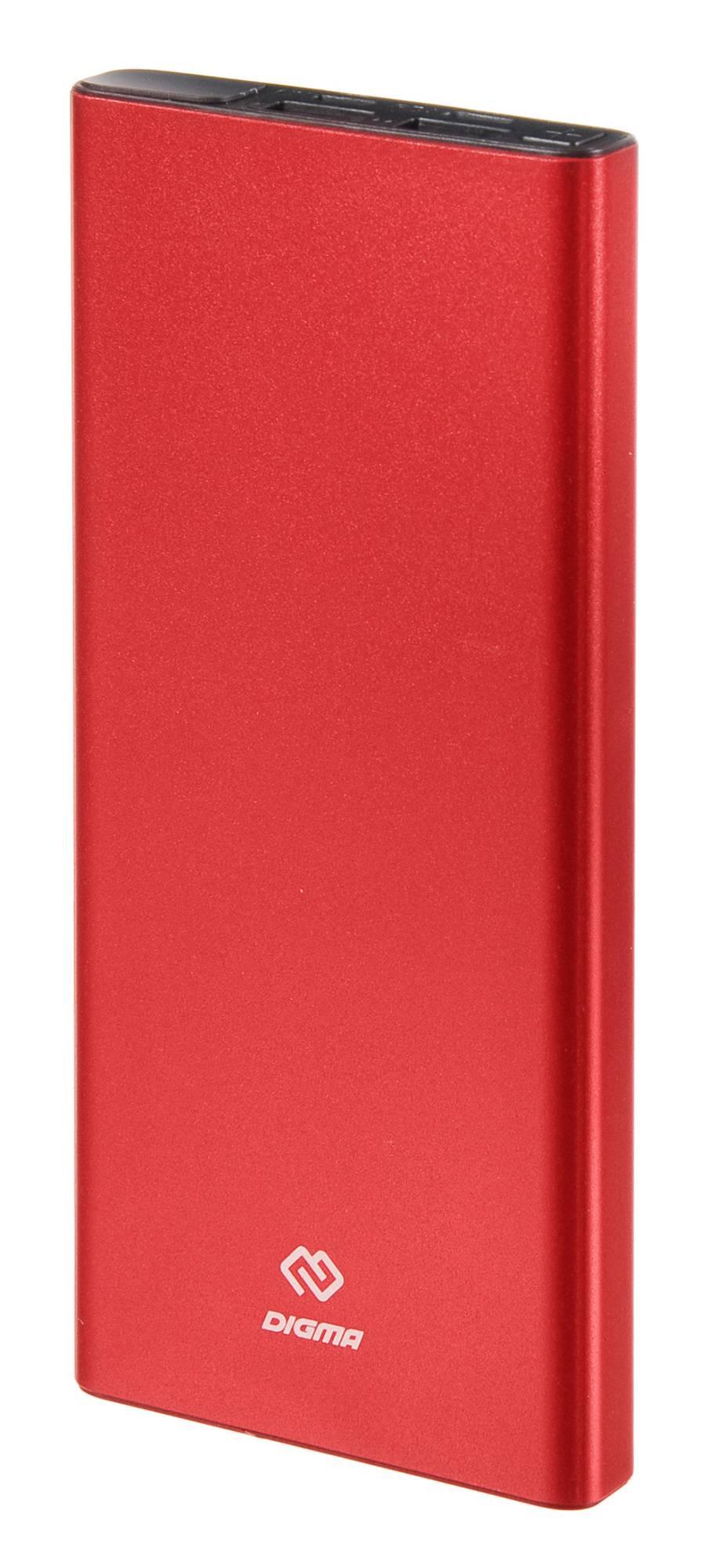 Мобильный аккумулятор DIGMA Power Delivery DGT-10000-RD QC 4.0 PD(22.5W) красный (DGT-10000-RD) - фото 1