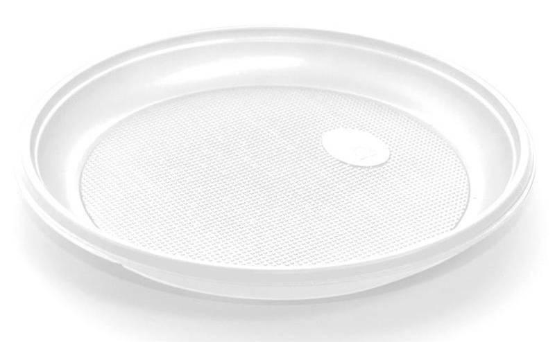 Тарелка однораз. пласт. D=165мм белый (упак.:100шт) - фото 1