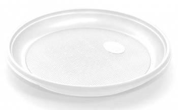 Тарелка Эконом однораз. пласт. D=165мм белый (упак.:100шт)