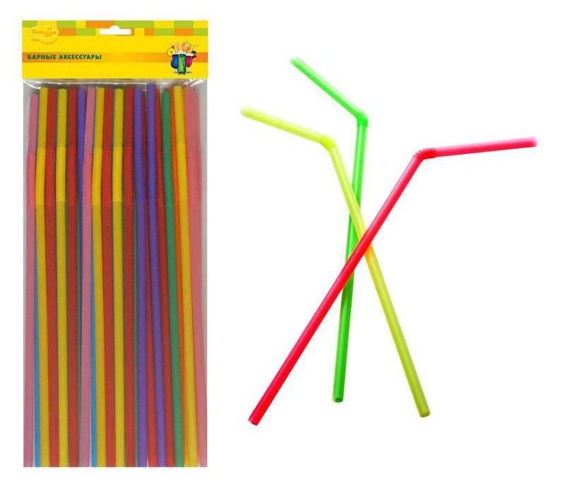 Трубочки для коктейлей (упак.:50шт) пластик ассорти мягк.уп. (6026141BA) - фото 1
