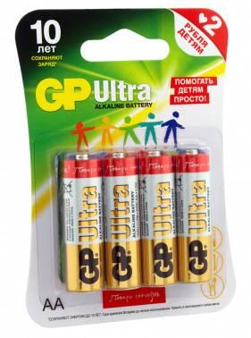 Батарея AA GP Ultra Alkaline 15AUGLNEW LR6, в комплекте 4шт. (15AUGLNEW-2CR4)