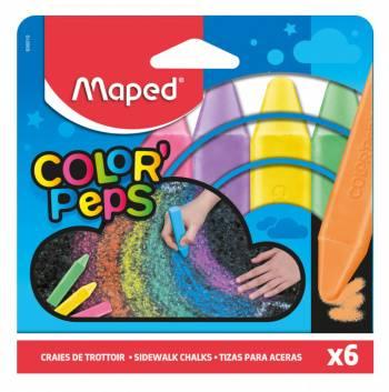 Мел цветной Maped Color`Peps асфальтовый 6 цветов (936010) (плохая упаковка)