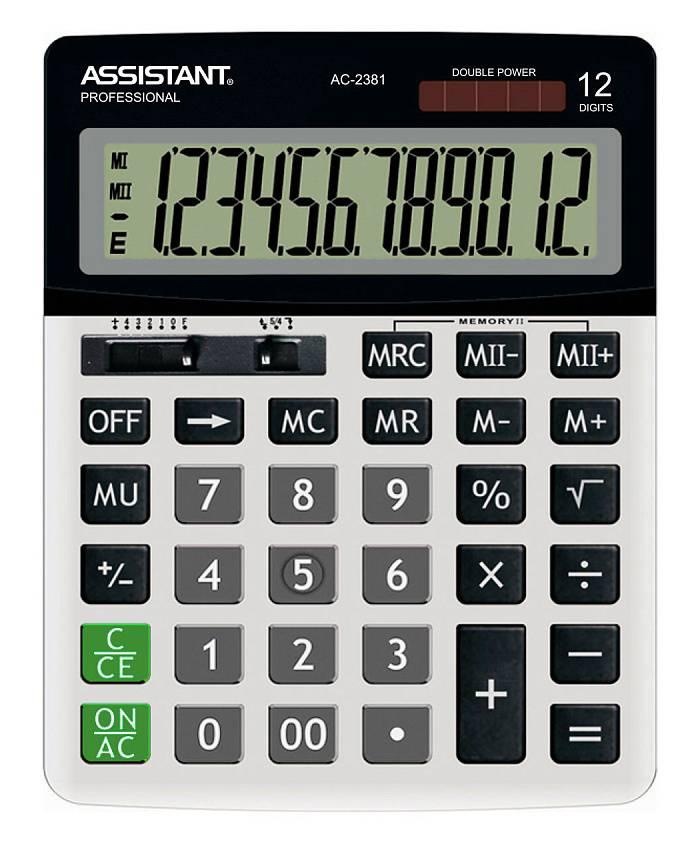 Калькулятор настольный Assistant серый (AC-2381) - фото 1