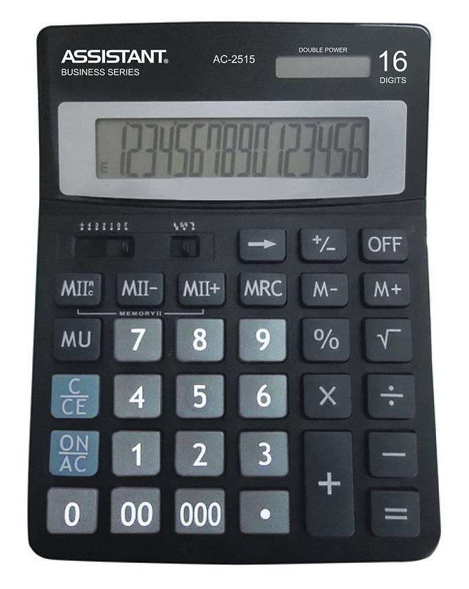 Калькулятор настольный Assistant черный (AC-2515) - фото 1