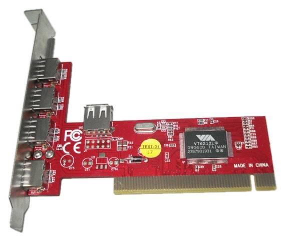 Контроллер PCI VIA6212 (4+1), 5xUSB2.0, Bulk (ASIA PCI 6212 4P USB 2.0) - фото 1