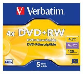 Диск DVD+RW Verbatim 4.7Gb 4x (1шт) (43229)