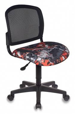 Кресло детское Бюрократ CH-296NX/GRAFFITY спинка сетка, цвет обивки: черный граффити Graffity, ткань, крестовина пластиковая