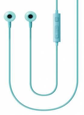 Наушники Samsung EO-HS130 голубой, вкладыши, крепление в ушной раковине, проводные, прямой коннектор, кабель 1.2м, регулятор громкости на проводе, микрофон на проводе