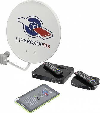 Комплект спутникового телевидения Триколор GS E501 + GS C591 + планшет Европа (комплект на 2 ТВ) черный