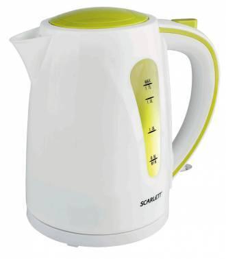 Чайник электрический Scarlett SC-EK18P13 белый/зеленый, объём 1.7л, мощность 2200Вт, материал корпуса: пластик