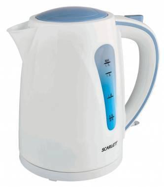 Чайник электрический Scarlett SC-EK18P14 белый/голубой, объём 1.7л, мощность 2200Вт, материал корпуса: пластик