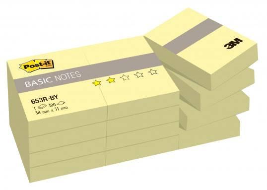 Блок самоклеящийся 3M Post-it Basic 653R-BY 7100033526 желтый 100 листов (упак.:12шт) - фото 1
