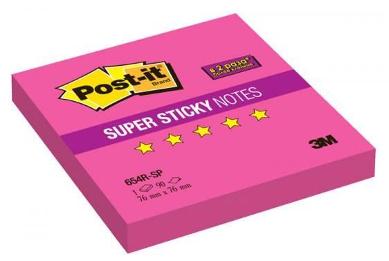 Блок самоклеящийся 3M Post-it Super Sticky 654R-SP 7100062369 неон розовый 90 листов - фото 1