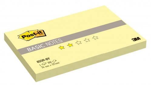 Блокнот 3M 655R-BY Post-it Basic канареечный желтый 76х127мм 100л (7100020768) - фото 1