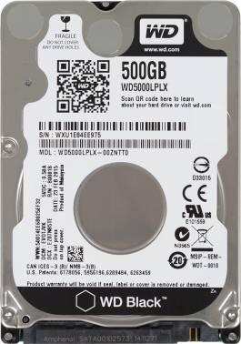 Жесткий диск WD Black WD5000LPLX, объем 500Gb, форм-фактор 2.5, буферная память 32МБ, скорость вращения шпинделя 7200 об/мин, интерфейс SATA-III