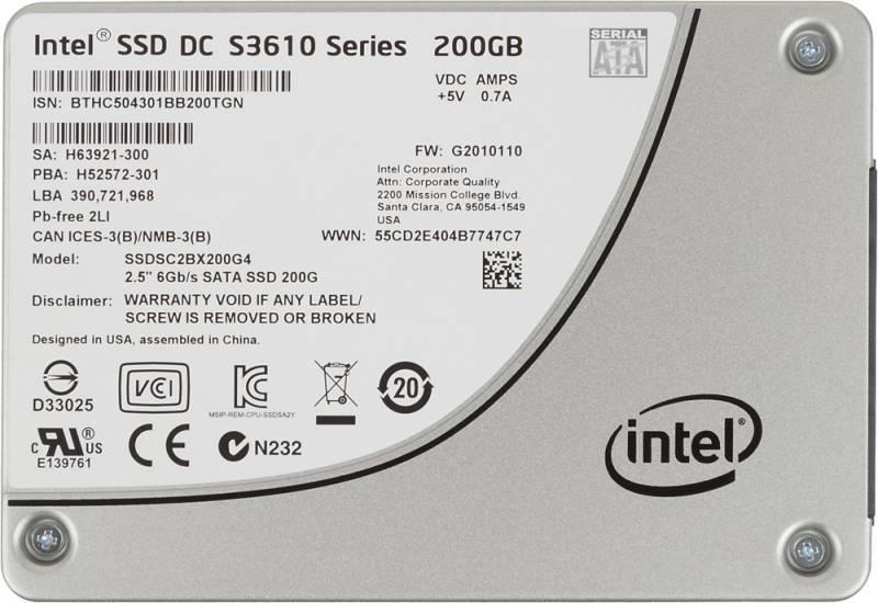 Накопитель SSD 200Gb Intel DC S3610 Series SSDSC2BX200G401 SATA III - фото 1