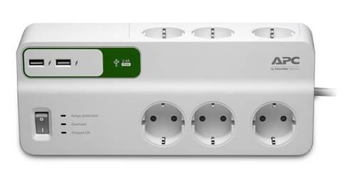 Сетевой фильтр APC PM6U-RS 2м белый - фото 1