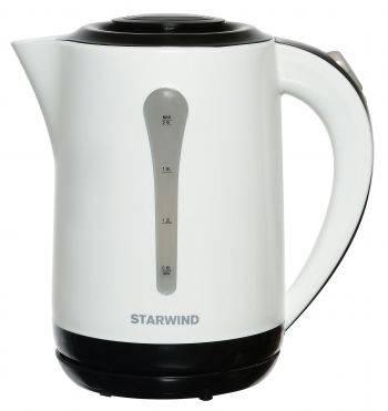 Чайник электрический Starwind SKP2212 белый/черный, объём 2.5л, мощность 2200Вт, материал корпуса: пластик