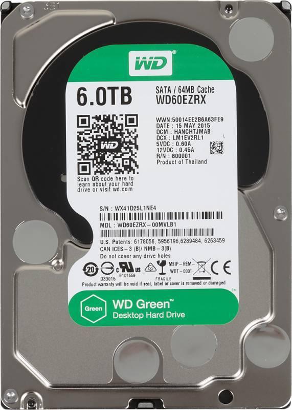 "Жесткий диск WD Green WD60EZRX  HDD 3.5"" 6144Гб SATA III 64Мб - фото 1"