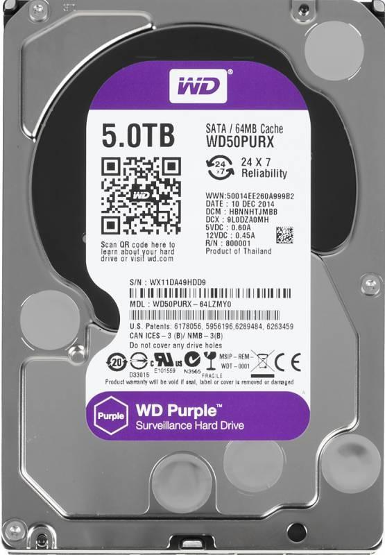 Жесткий диск 5Tb WD Purple WD50PURX SATA-III - фото 1