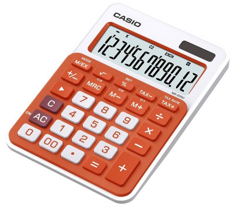 Калькулятор настольный Casio MS-20NC-RG-S-EC оранжевый 12-разр. - фото 1