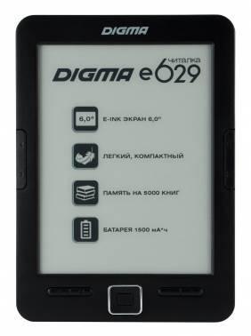 Электронная книга 6 Digma E629 черный