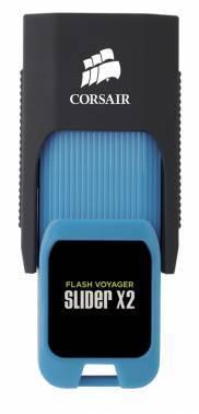 Флеш диск 64Gb Corsair Voyager Slider X2 USB3.0 черный / голубой